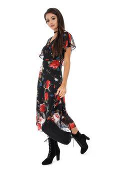 Rochie vaporoasa DR3101 negru -  Ama Fashion Wrap Dress, Floral, Dresses, Fashion, Vestidos, Moda, Fashion Styles, Flowers, Dress