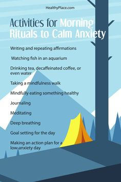 """""""Morning rituals can calm anxiety if you know what to include in them. Read this for tips to create a morning ritual that calms your morning anxiety."""" www.HealthyPlace.com"""