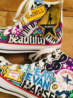 This Custom Broadway Show Converse is just one of the custom, handmade pieces you'll find in our hi tops shops. Kevin Parker, Liz Phair, Musical Theatre Broadway, Broadway Shows, Musicals Broadway, Broadway Outfit, Broadway Quotes, Painted Vans, Painted Shoes