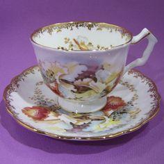 AYNSLEY PEACH GOLDEN ORCHID TEA CUP & SAUCER ~  CROCUS STYLE ~ GOLD FILIGREE #AYNSLEY