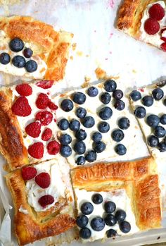 Raspberry & Blueberry Cream Cheese Tart made with puff pastry