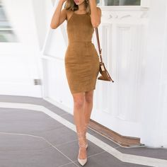 Women Sexy Spaghetti Strap Lace Up Back Faux Suede Bodycon Slim Fit Dress