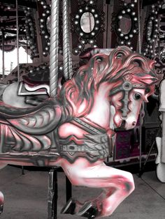 pink carousel, if I was a wealthy woman I would collect all the old carousel pieces love them