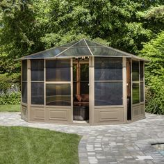 Shop Gazebo Penguin 144-in x 144-in x 9.16-ft Polycarbonate Roof Aluminum Octagon Gazebo at Lowes.com