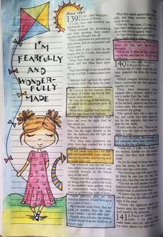 Must remember. Bible Journaling - Psalm 139 - Includes a great list of supplies. Did you know there is a KJV Journaling Bible? Faith Bible, My Bible, Bible Scriptures, Bible Psalms, Psalm 139, Scripture Art, Bible Art, Bibel Journal, Such Und Find