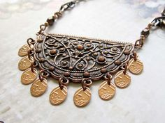 Copper necklace bohemian necklace crescent by Gypsymoondesigns
