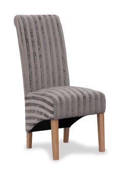 Krista Mink Velvet Stripe Fabric Dining Chairs