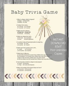 Easy baby shower ideas for girls and boys! Modern baby shower games that are actually fun, baby shower favors that won't get thrown away, and more! Boho Baby Shower, Baby Shower Candy, Baby Shower Diapers, Baby Boy Shower, Shower Party, Diaper Shower, Baby Trivia, Baby Shower Activities, Baby Shower Printables