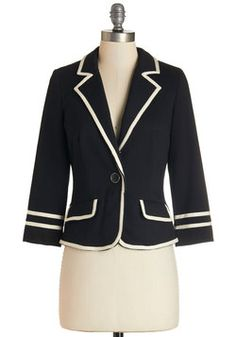Academia Ahoy Blazer in Black. Make way for a semester filled with your most creative essays, most refined equations, and of course, this most scholarly black blazer! #black #modcloth