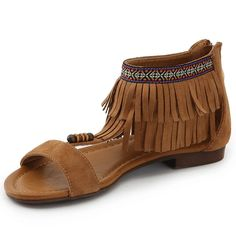Alexis Leroy Women's Fringe Tassel Side Zipper Flat Sandals >>> Find out more about the great product at the image link. Fringe Sandals, Flat Sandals, Womens Flats, Tassels, Zipper, Popular, Sneakers, Stuff To Buy, Shopping