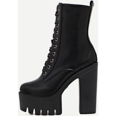 SheIn(sheinside) Black Lace Up PU Platform High Heel Boots ($49) ❤ liked on Polyvore featuring shoes, boots, black, winter boots, black high heel boots, chunky platform boots, high heel boots and short boots