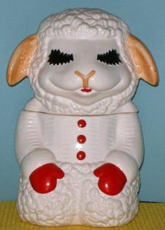 LAMB CHOPS COOKIE JAR, BY BENJAMIN & MEDWIN. I don't collect cookie jars (some do!) but this would have been a fun piece to invest in.