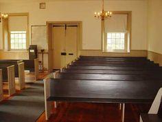 Interior of 1770 Mennonite Meeting House in Germantown (Philadelphia), PA.