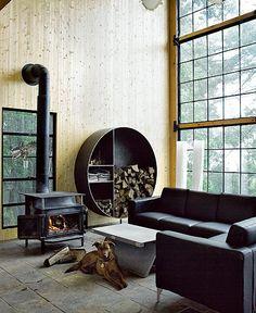 love the circular wood storage
