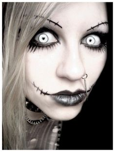 2014 nightmare before christmas stitch makeup for Halloween - zombie, face painting #Halloween