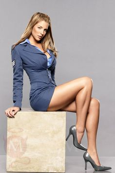 "Gemma Atkinson as ""Lieutenant Eva McKenna"" posing with her sexy legs for the game Command and Conquer Red Alert 3."