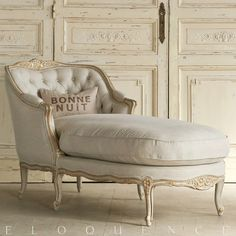 What if we reupholstered just the cushion of this piece in the Robert Allen Home Medley Blooms Slub Brush Pattern? Eloquence Louise Upholstered Chaise Gold Two Tone FREE SHIPPING