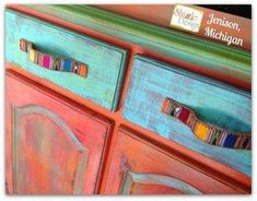 Shizzle Design buy American Paint Company chalk clay paint supplies retailer turquoise orange whimisical funky colors furniture handles were a belt Hand Painted Furniture, Funky Furniture, Colorful Furniture, Painting Furniture, Eclectic Furniture, Decoupage Furniture, Furniture Handles, Furniture Vintage, Refurbished Furniture