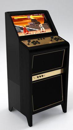 La borne d'arcade est conçue pour deux joueurs. Pour ce mobilier, REDHOOD a su allier inspiration vintage et nouvelle technologie.