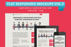 Check out 12 Flat Responsive Web Mockups Vol.2 by graphicon on Creative Market