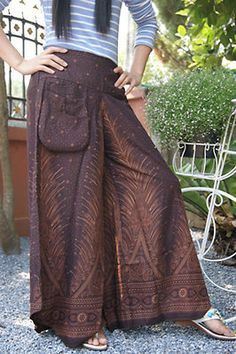 HIPPIE BOHO thai tribal art harem gypsy yoga belly dance fisherman skirt pants fishermen pants thai   chocolate brown