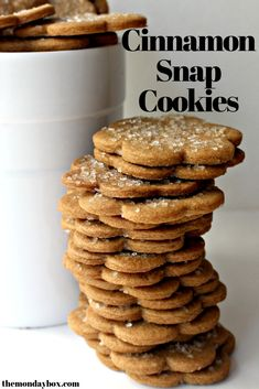 Cinnamon Snap Cookies – The Monday Box Cinnamon Snap Cookies are bite after bite of cinnamon spiced crunch! Great for snacking or dunking, these sweet treats, in a lunch box or care package, would make someone very happy! Galletas Cookies, Candy Cookies, Yummy Cookies, Köstliche Desserts, Delicious Desserts, Dessert Recipes, Yummy Food, Tasty, Cinnamon Cookies