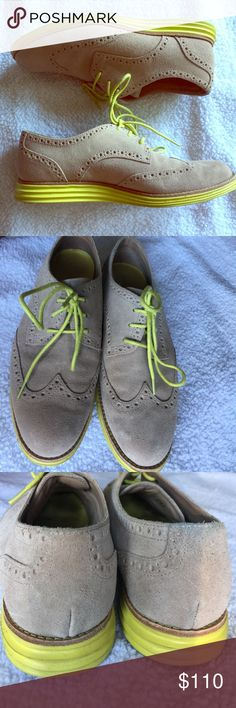 LunarGrand Oxford Classic Cole Haan wingtip oxford. Yellow sole and laces. Soles are Grand.OS Technology. So comfortable and stylish! Cole Haan Shoes Flats & Loafers