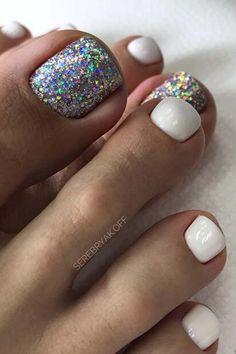 Fall Toe Nails, Glitter Toe Nails, Acrylic Toe Nails, Simple Toe Nails, Pretty Toe Nails, May Nails, Cute Toe Nails, Summer Toe Nails, Toe Nail Art