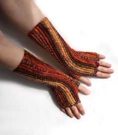 Knit fingerless mittens, wool armwarmers in autumn colors, fingerless glove for office, handknit arm warmers, size women XS to L, men M L