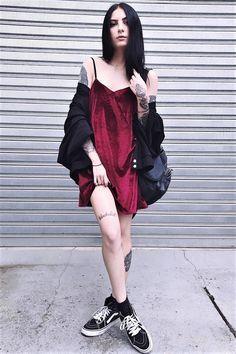 Velvet dress, oversized jacket, backpack & Vans shoes by bruhuli