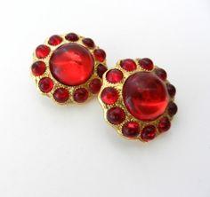 Earrings Vintage 1970 Italy  vibrant red di VintageItalianJewel, $30.00