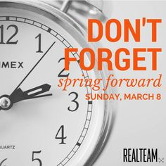 Spring is almost here! Don't forget to move the clocks ahead on March 8th! #daylightsavings #springforward #hellospring #goodbyewinter #nomoresnow