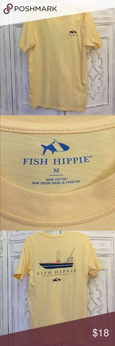 Yellow Short Sleeve Fish Hippie Shirt Size medium. 100% cotton. Fish Hippie is a brand similar to Southern Tide and Fraternity Collection. Very trendy! Suitable for men or women Fish Hippie Tops Tees - Short Sleeve