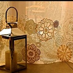 Doilies, what a fun way to dress up plain curtains!
