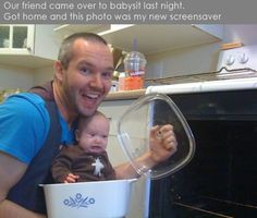 This is hilarious.  Look at the baby's face!!!!!
