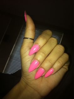 pointy pink nails