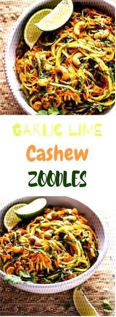 #healthyrecipe #veganmeal #zoodles #garlic #cashew #lime Garlic Lime Cashew ZoodlesGarlic Lime Cashew ZoodlesGarlic Lime Cashew Zoodles Vegan Zoodle Recipes, Paella, Garlic, Lime, Ethnic Recipes, Food, Lima, Limes, Meals