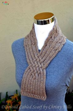 Knitting Pattern Only - Diamond Cabled Scarf Cable Needle, Yarn Needle, Provisional Cast On, Quick Knits, Purl Stitch, Scarf, Stitch Markers, Yarn Colors, Knitting Yarn
