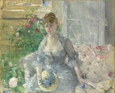 Young Woman Seated on a Sofa, ca. 1879 Berthe Morisot (French, Oil on canvas 31 x 39 in. x cm) Signed (lower left): Berthe Morisot Partial and Promised Gift of Mr. Edouard Manet, Pierre Auguste Renoir, Berthe Morisot, Painting Prints, Art Prints, Paintings, Mary Cassatt, Ouvrages D'art, Impressionism Art