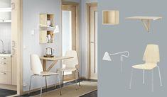 Seinään kiinnitettävä koivuinen NORBO-klaffipöytä ja koivuiset/kromatut VILMAR-tuolit