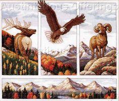 Rocky Mountain Wildlife Beauty Cross Stitch. Finished