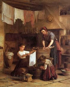 Pierre-Edouard Frere (French, 1819-1886) «Washing Day»