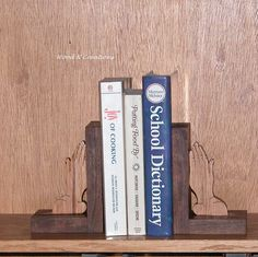 Bookends of Walnut Wood with Hickory Hands - Home Decor - Office Decor