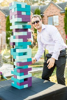 Teal and purple wedding giant jenga - rock n roll bride jewel tone wedding Purple Wedding, Trendy Wedding, Wedding Colors, Dream Wedding, Wedding Day, October Wedding, Wedding Advice, Turquoise Weddings, Wedding Quotes