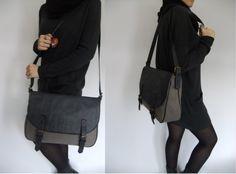 Messenger Bag leather and canvas handbag shoulder bag by metaphore, $128.00