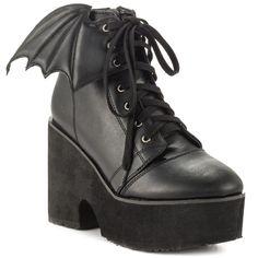Women's Iron Fist Bat Wing Boot Black  Punk Goth  #IronFist #boot #Casual
