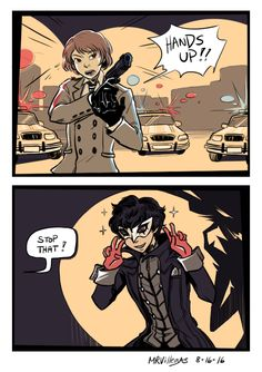We have a local police drama show and the police protagonist (who looks good in drag like damn this better not awaken anything in me) yelled this at the suspect of the week and the suspect did this, true to his quirky and diabolical character. Persona Five, Persona 5 Memes, Persona 5 Joker, Manga, Otaku, Goro Akechi, Shin Megami Tensei Persona, Akira Kurusu, Drama