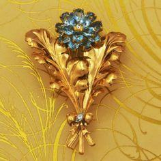 Retro Tiffany & Co. Aquamarine Flower Brooch | Perrys Fine Antique & Estate Jewelry