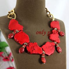 Free Shipping Red Turquoise and Coral Necklace by OnlyPearl