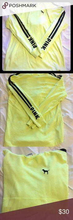 Neon yellow PINK Victoria's Secret hoodie Adorable neon yellow PINK Victoria's Secret hoodie. Great condition PINK Victoria's Secret Sweaters